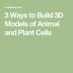 3 Ways to Build 3D Models of Animal and Plant Cells