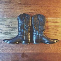 WEBSTA @ electriclovecompany - Black Leather Cowboy Boots. Great condition…