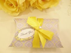 10 Yellow And Gray Wedding Favor Pillow Box Grey Bridal Shower Gift Baby Bo
