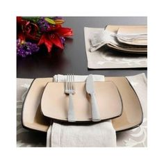 Square Stoneware Dinnerware Set 16 Piece Kitchen Dining Plates Bowls Dishes Mugs #Gibson