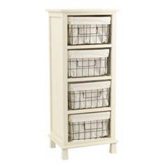 Cream 4-Drawer Storage Basket Cabinet