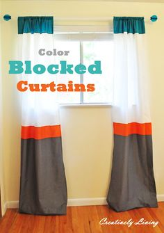 Fabulous Color Blocked Curtains for a Nursery (Diy Curtains Short) Color Block Curtains, Yellow Curtains, Nursery Curtains, Diy Curtains, Long Curtains, Curtains Living, Curtain Tutorial, Diy Tutorial, Window Coverings