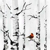 landschap : Berk in sneeuw, winter kaart in vector Stock Illustratie