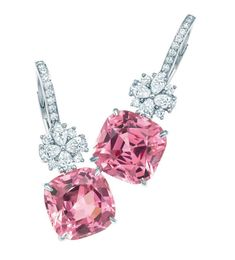 Tiffany Pink spinel and diamond earrings in platinum 38700