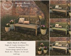 https://flic.kr/p/FXLQCc | {what next} Marlow Bench & Planters for C88 April | Coming soon for the April round of C88 Marlow Bench & 3 Planters L$88 2 seater Bench with singles, alone & couples PG animations Automatically rezzing props Texture-changing options for wood & pillows Land impact : bench=4, large planter=2, small planters= 1 Mod/Copy