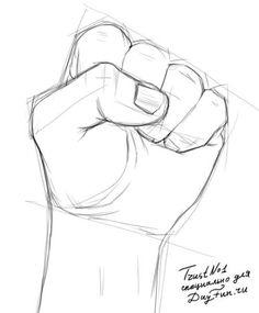 Как нарисовать кулак карандашом поэтапно 3