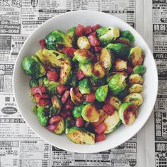 stir-fried brussel sprouts and salami — paleo, gluten-free