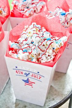 4th of July popcorn! Party via Kara's Party Ideas by Anders Ruff | Full of ideas, recipes, tutorials, printables, desserts, and more! KarasPartyIdeas.com