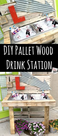 Rustic outdoor drinking stations are the perfect detail, from formal weddings to informal backyard get together! This rustic pallet diy cooler is perfect! http://divaofdiy.com/make-unique-diy-cooler-pallet-outdoor-drinking-station/