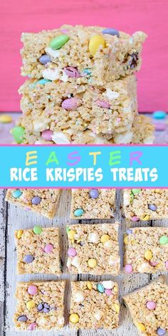hoppy easter Easter Rice Krispies Treats - lots of sprinkles and candies make these fun cereal treats so irresistible and pretty. Great recipe to share at Easter parties and dinners. Easter Snacks, Easter Candy, Easter Brunch, Easter Desserts, Easter Dinner, Easter Food, Easter Baking Ideas, Easy Easter Recipes, Easter Weekend
