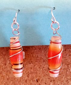 Orange and Brown Paper Bead Earrings, Encased in Silver Wire and Attached to a Silver Fish Hook Ear Wire by PaperBeadChicFun on Etsy