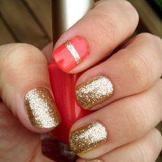 Gold nails and a stripe in between the coral on one of the accent nails is just totes Cute! Nail Polish, Gel Nail Art, Gold Polish, Acrylic Nails, Nail Nail, Cute Nails, Pretty Nails, Classy Nails, Glamour Nails