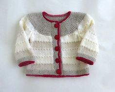 Newborn baby knitted cardigan unisex sweater with red and