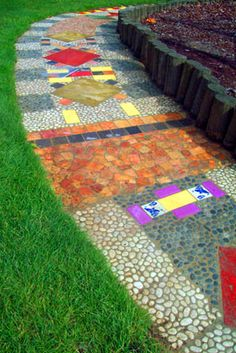 Mosaic Playground Pathway - would be a lovely idea to get the children involved in making this