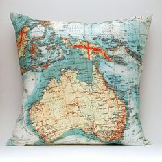 Vintage AUSTRALIA Map Pillow  Made to Order 18x18 by saltlabs, $49.00