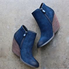 very volatile whitby demi wedge suede ankle bootie (2 colors)
