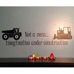 Not a mess imagination under construction dump truck and bulldozer Children Wall Vinyl Decor Nursery Toddler Room CT4564. Not a mess Imagination under construction - Dump Truck Bulldozer ~~PRODUCT DESCRIPTION~~ * Removable vinyl wall decal * Any sample photo used is for illustrative purposes. Measure area to ensure good fit. Custom sizing is available, please convo for quote. ~~CHECKOUT~~ * Select COLOR and SIZE upon checkout ~~ABOUT PRODUCT~~ * Apply decals in area that is out of reach…