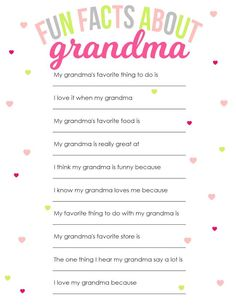 Mother's Day Printable for Grandma is part of Birthday crafts For Grandma - Printable Mother's Day Questionnaire for Grandma Fun Facts About Grandma A gift that she will love for years to come Grandparents Day Crafts, Birthday Gifts For Grandma, Mothers Day Gifts From Daughter, Mothers Day Crafts For Kids, Diy Mothers Day Gifts, Grandparent Gifts, Mothers Day Cards, Grandma Gifts, Mother Day Gifts