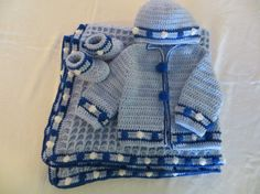 Baby Sweater set with matching blanket hat and booties by KEL2D2, $80.00