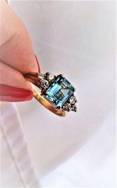 Emerald Cut Natural Aquamarine Diamond 1.48 TCW Engagement Right Hand March Birthstone Ring! 9K Multi Gold! Retro Art Deco Vintage Estate
