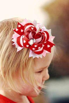Valentines Rhinestone Layered Boutique Bow