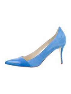 Blue suede Oscar de la Renta Tami 85 pumps with pointed toes featuring patent leather cap toes and covered heels. Includes box and dust bag.