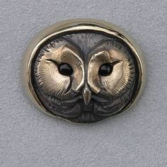 Bronze Saw Whet Owl Pin w/ Onyx Eyes