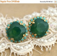 Emerald Stud Earrings, Swarovski Earrings,Bridesmaids Earnings,Swarovski Emerald Stud Earrings,Gift For Her,Bridal Emerald Earrings