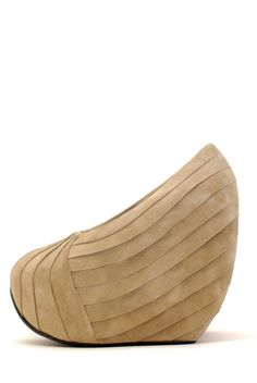 """Whoa! 7.5"""" in the back, 5.5"""" in the wedge. Crazy. MINIMARKET Pleated Suede Avant-Garde Wedge - Nude"""
