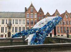 Triennale in Brügge: Walfisch vor Giebelhäusern #flandern #kunst #brügge