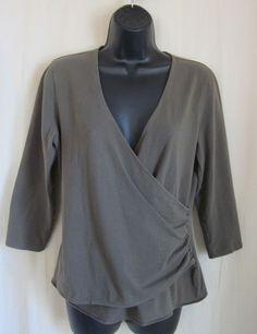 ANN TAYLOR Women's Olive Green Cotton Spandex Wrap Top L Large #AnnTaylor #Wrap