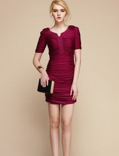 Short sleeves pleated mini dress cranberry red