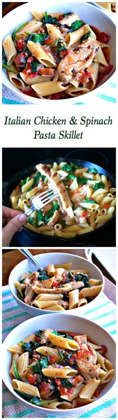 Italian Chicken and Spinach Pasta Skillet ~ Get back into the swing of things after the holidays with a quick, healthy skillet meal. Fresh spinach, cooked chicken and penne pasta in a savory Italian tomato sauce. #OneBowlWonder