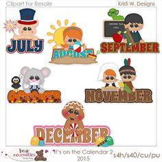 On the Calendar July-December 2 Clipart Digital Zip by MaddieZee 2 Clipart, Scrapbook Titles, Scrapbooking, December Calendar, Envelope Box, Winter Season, September, Paper Crafts, Seasons