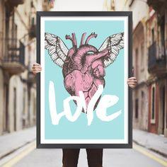 Placa decorativa coração com asas - StickDecor | Decoração Criativa