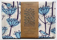 Goldfinch screen-printed tea towel blue by AlisonHullyer on Etsy