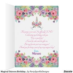 Magical Unicorn Birthday Party Thank You Note Card