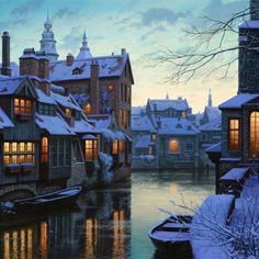 Winter in Bruges Belgium. The best time to visit with the Xmas items and decorations on show, and the snow.