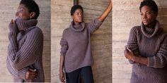 Модный свитер резинкой спицами с описанием из Woolfolk осень-зима 17. Стильный модный женский свитер, вязаный спицами двумя видами резинки, дающими схожий эффект полотна.