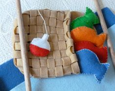 Felt Magnetic Fishing Game, Kids Travel Game, Kids Fishing Set, Kids Birthday Gift -- Hand Embroidered Border