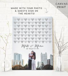 Canvas Guest Book Alternative with Photo - Wedding Sign in Board - Unique Guest Book Photo Canvas - Silver Glitter  ||  #wcvendor
