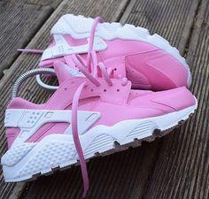 Nike Air Huarache Hot Pink custom. by JKLcustoms on Etsy