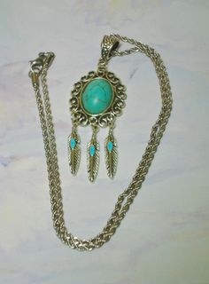 Native American Turquoise Feathered Pendant and Stainless Steel Necklace. $12.99 Click pic for info.