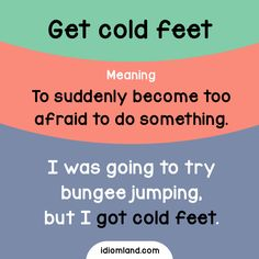 Idiom of the day: Get cold feet.  Meaning: To suddenly become too afraid to do something.  Example: I was going to try bungee jumping, but I got cold feet.