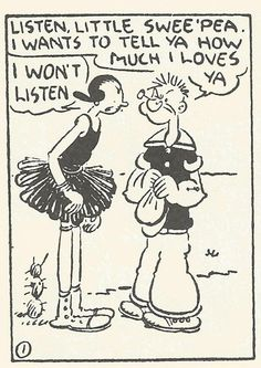 vintage cartoon love spat. | #popeye #oliveoyl #feisty