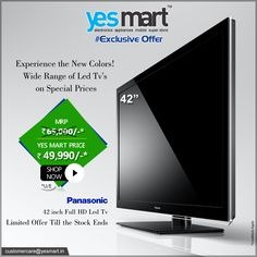 Catch the Exclusive offers from #YesMart. 42-inch #Panasonic Brand Full HD, LED #Television is now available at just Rs- 49,990/- . Visit your nearset #YesMart store to buy it, before the offer ends.. For more info Visit – www.yesmart.in