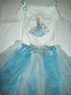 Queen Elsa,  Disney Frozen inspired Tutu and Shirt Set, Free January Shipping USA Only, Size 1 Month - 10 Years