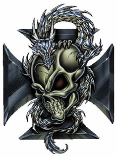 dragon with skull tatoo | WALL ART - DRAGON IRON CROSS SKULL SHIELD CREST contents