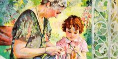 A nagymama és az unokák közötti szeretet örökké tart! Painting, Pictures, Painting Art, Paintings, Painted Canvas, Drawings