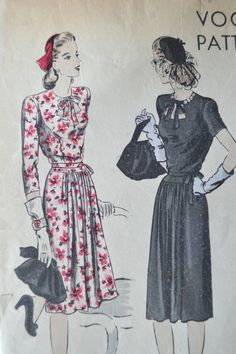 1940s Vogue Pattern dress 9861 Bust 32 inches - long or short sleeves, straight skirt, vintage sewing patterns, 1940s style fashion di Tigrisa su Etsy https://www.etsy.com/it/listing/233541798/1940s-vogue-pattern-dress-9861-bust-32